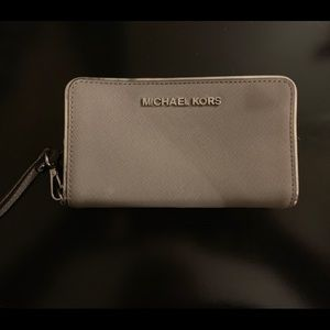 Michael Kors grey and silver large zip wallet